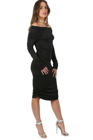 Off Shoulder Ruched Long Sleeve Bodycon Dress in Black 1