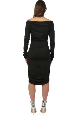 Off Shoulder Ruched Long Sleeve Bodycon Dress in Black 2