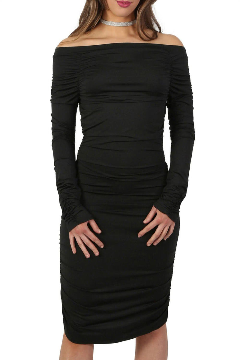 Off Shoulder Ruched Long Sleeve Bodycon Dress in Black 3