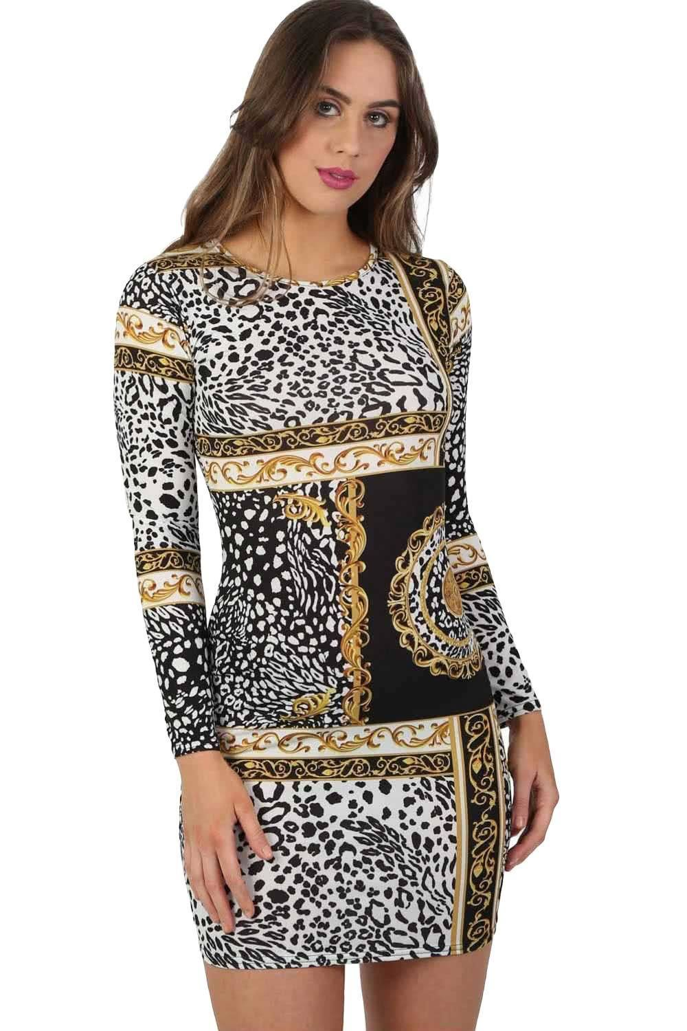 Scarf Print Long Sleeve Bodycon Mini Dress in Black 0