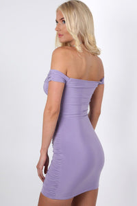 Slinky Ruched Lace Up Front Bardot Bodycon Mini Dress in Lilac 1