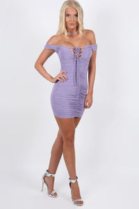 Slinky Ruched Lace Up Front Bardot Bodycon Mini Dress in Lilac 2