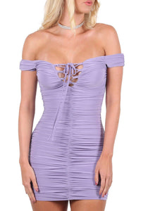 Slinky Ruched Lace Up Front Bardot Bodycon Mini Dress in Lilac 3