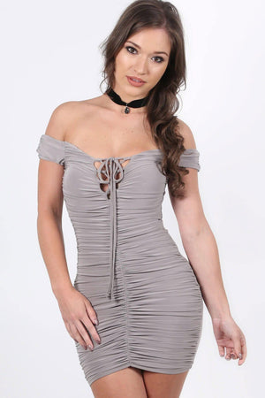 Slinky Ruched Lace Up Front Bardot Bodycon Mini Dress in Smokey Taupe 0