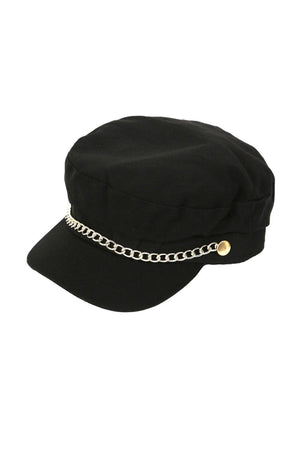 Chain Detail Baker Boy Hat in Black 2
