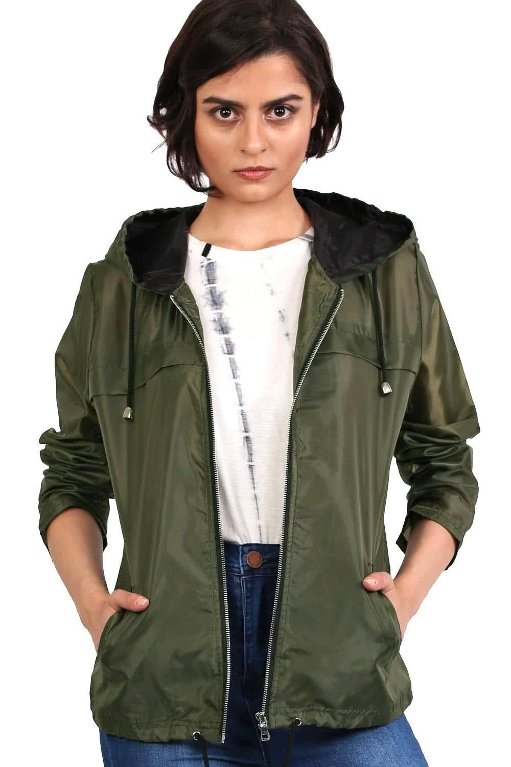 Lightweight Hooded Festival Jacket in Khaki Green 0