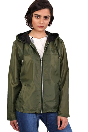 Lightweight Hooded Festival Jacket in Khaki Green 1