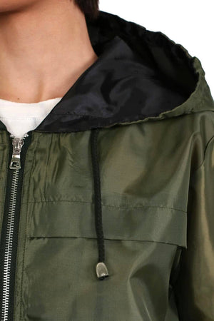 Lightweight Hooded Festival Jacket in Khaki Green 3