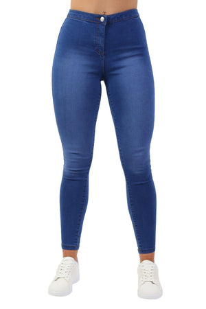 High Waisted Stretch Denim Skinny Jeans in Denim 3