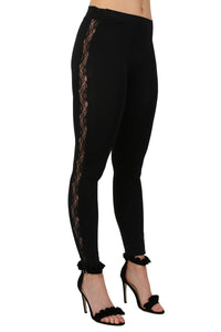 Lace Side Panel Leggings in Black 0