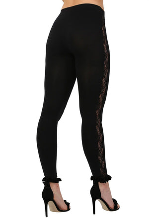 Lace Side Panel Leggings in Black 1