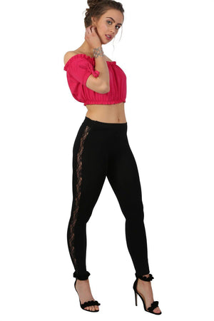 Lace Side Panel Leggings in Black 2