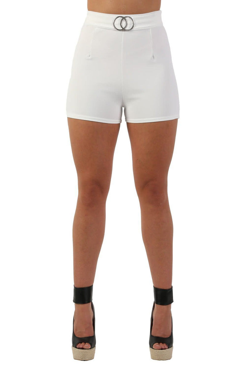 Double Circle Buckle Detail High Waisted Fitted Shorts in Cream 4