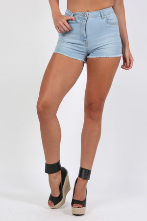 Frayed Hem Denim Hotpant Shorts in Light Denim 0