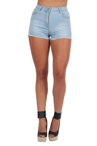 Frayed Hem Denim Hotpant Shorts in Light Denim 3