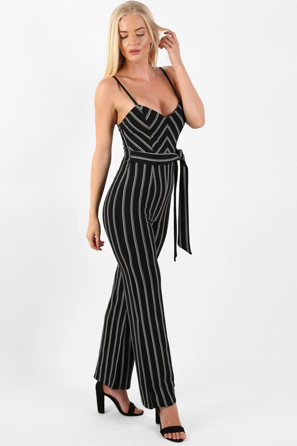 Monochrome Stripe Belted Jumpsuit in Black 0