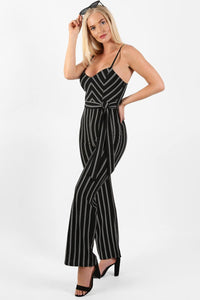 Monochrome Stripe Belted Jumpsuit in Black 2