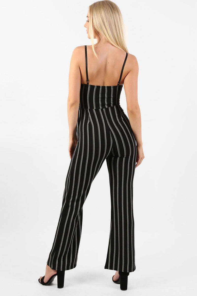 Monochrome Stripe Belted Jumpsuit in Black 3