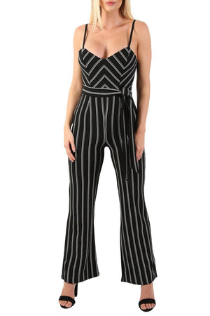 Monochrome Stripe Belted Jumpsuit in Black 4