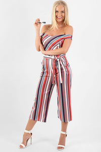 Multi Stripe Bardot Culotte Jumpsuit in Red 0
