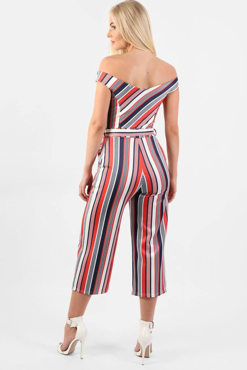 Multi Stripe Bardot Culotte Jumpsuit in Red 1