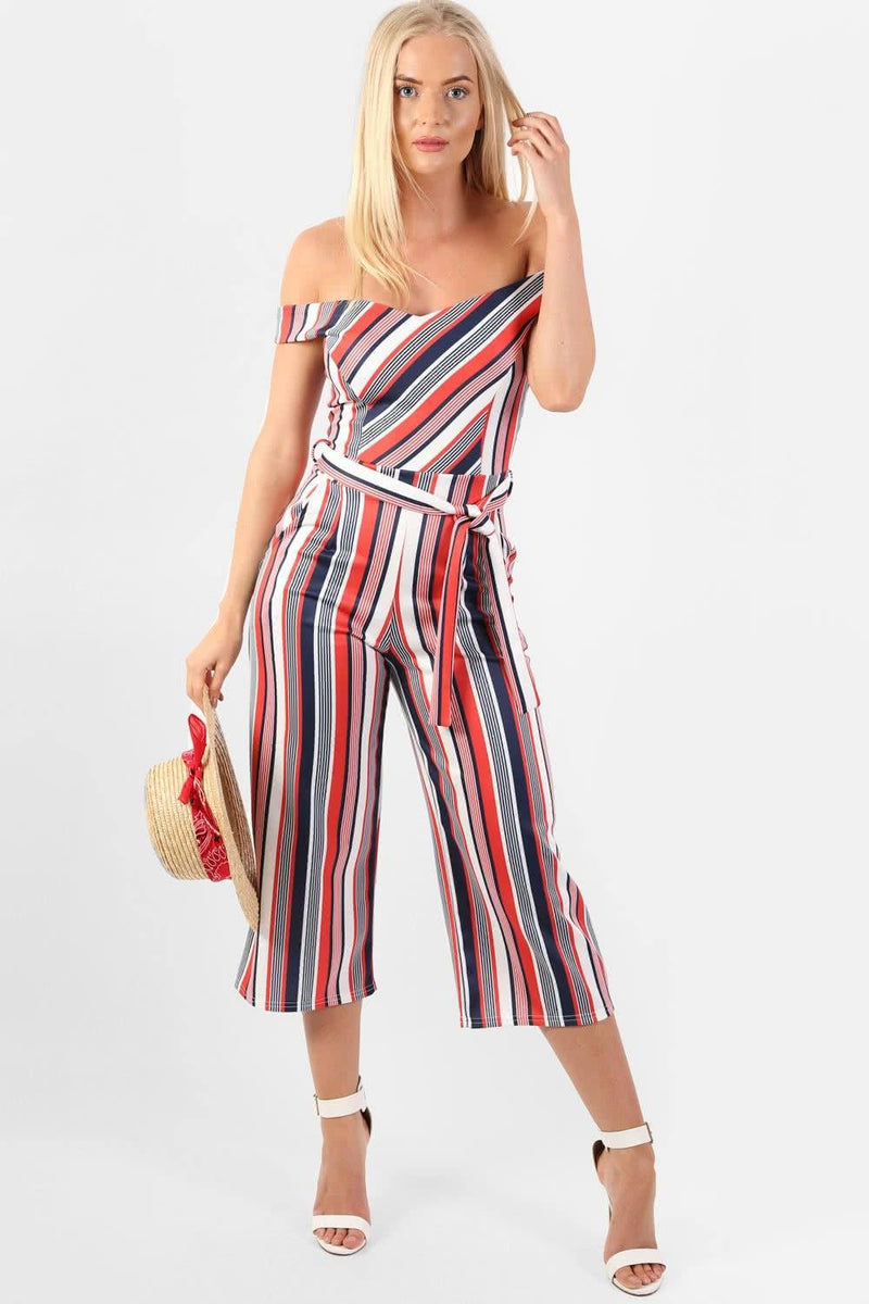 Multi Stripe Bardot Culotte Jumpsuit in Red 2