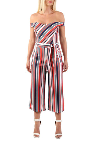 Multi Stripe Bardot Culotte Jumpsuit in Red 3