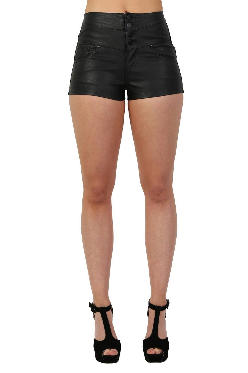 PU High Waist 4 Button Detail Shorts in Black 0
