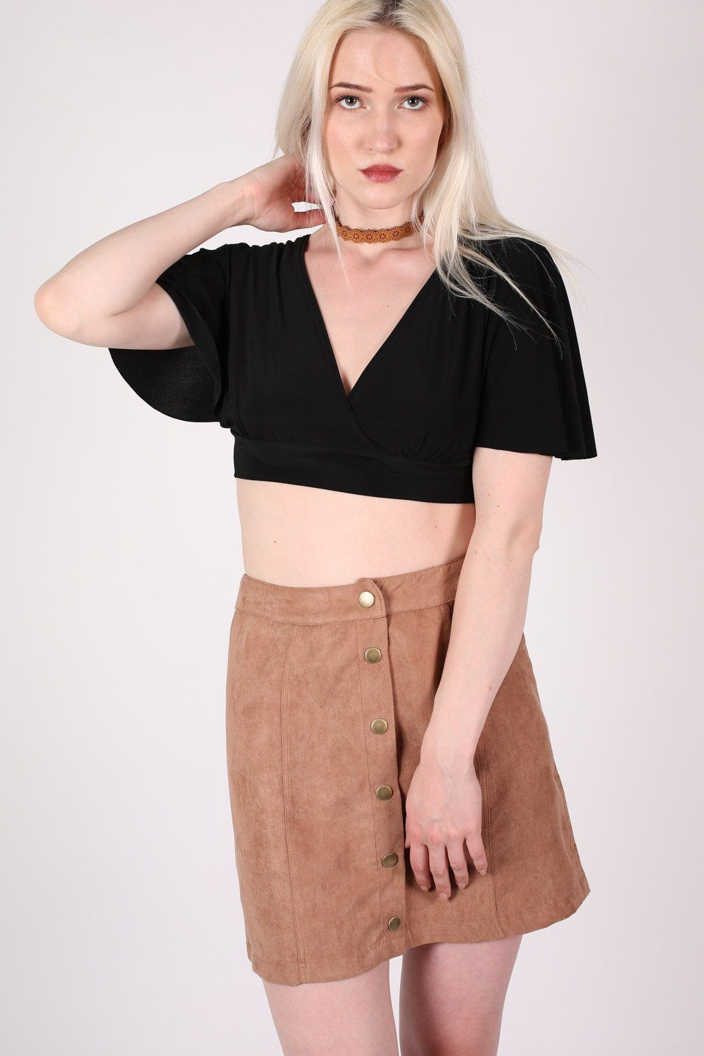 Faux Suede Front Button Mini Skirt in Tan Brown 0