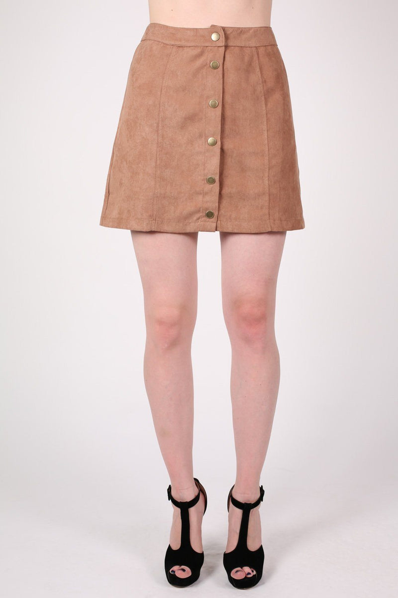 Faux Suede Front Button Mini Skirt in Tan Brown 1