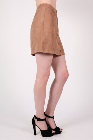 Faux Suede Front Button Mini Skirt in Tan Brown 2