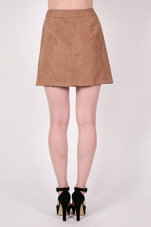 Faux Suede Front Button Mini Skirt in Tan Brown 3