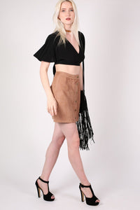 Faux Suede Front Button Mini Skirt in Tan Brown 4