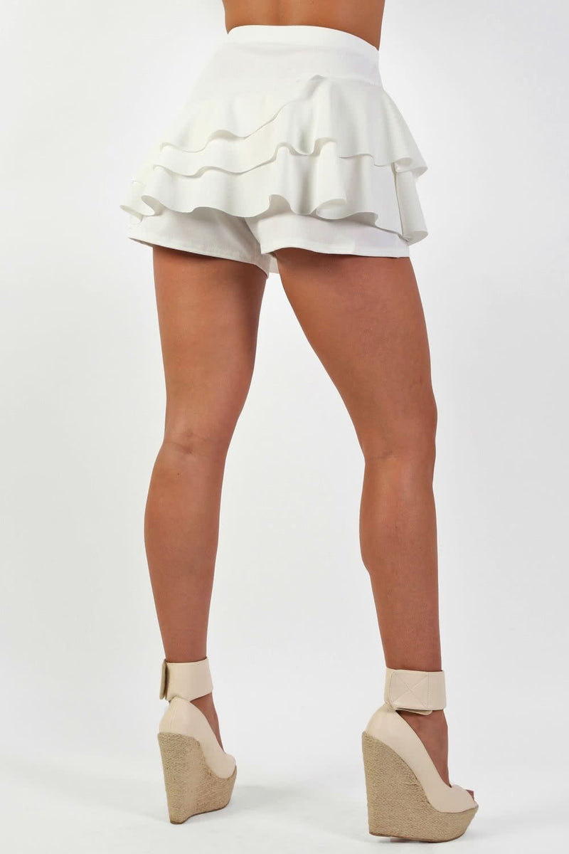 Multi Layer Plain Frill Skort in Cream 1