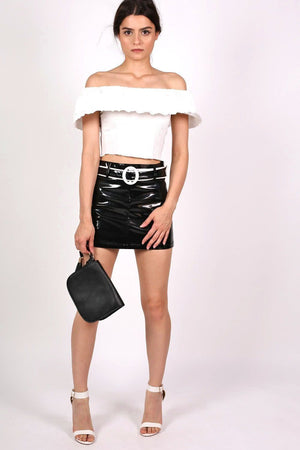 Vinyl Belted Mini Skirt in Black 5