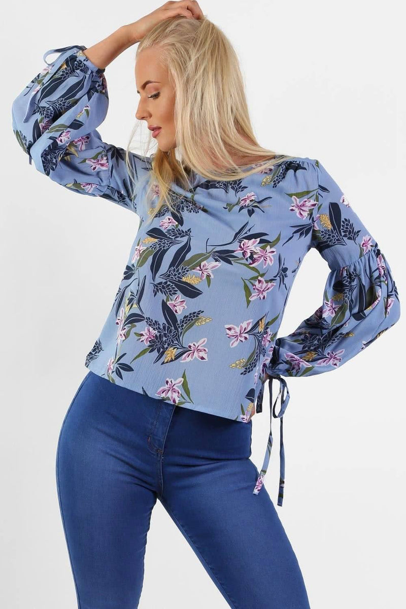 Floral Print Balloon Sleeve Top in Blue 0