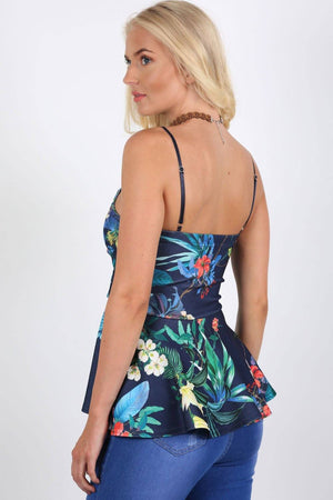 Floral Print Strappy Peplum Top in Navy Blue 1