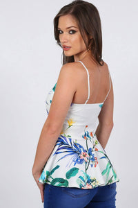 Floral Print Strappy Peplum Top in White 1