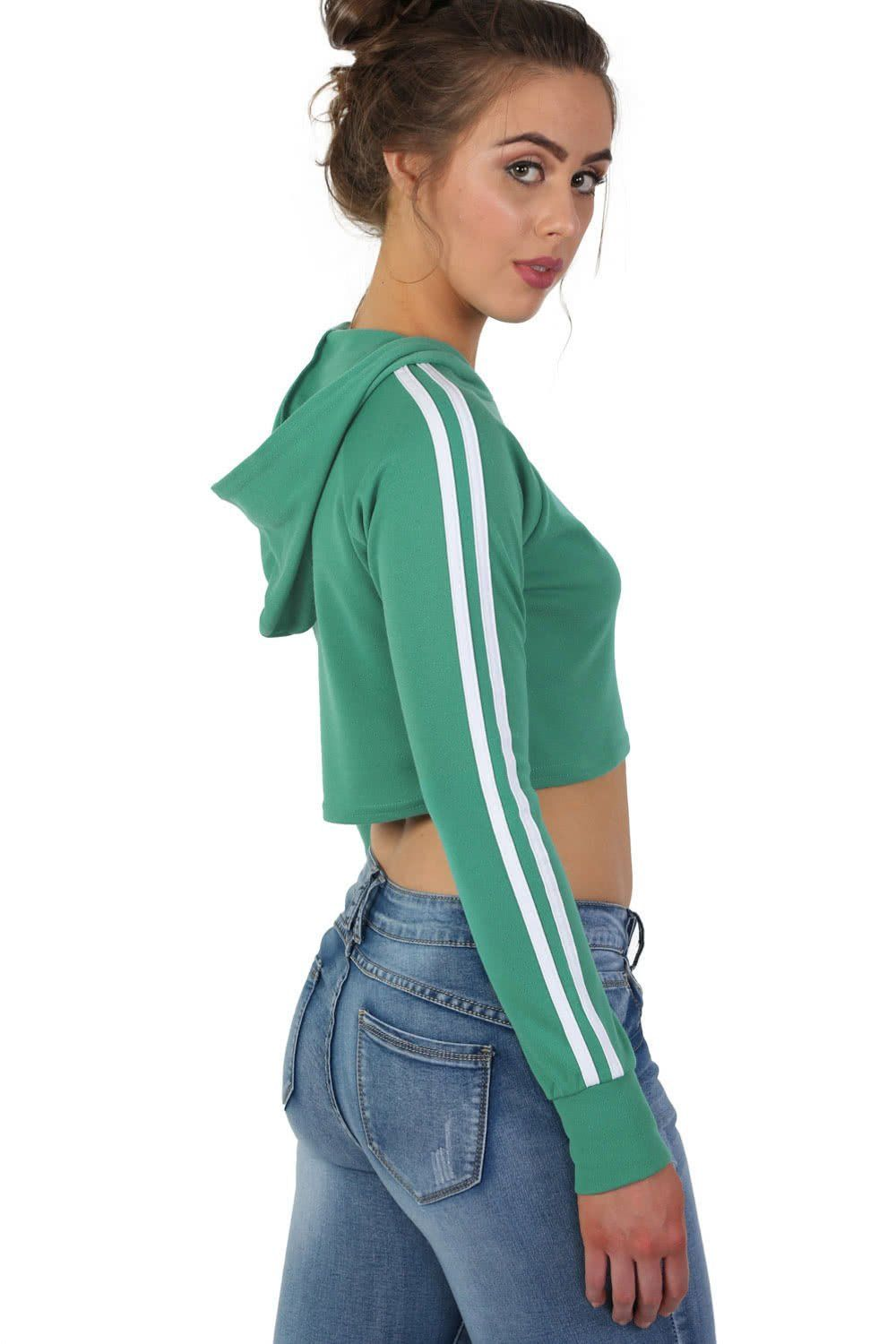 Long Sleeve Side Stripe Crop Hoodie Loungewear Top in Aqua Green 0