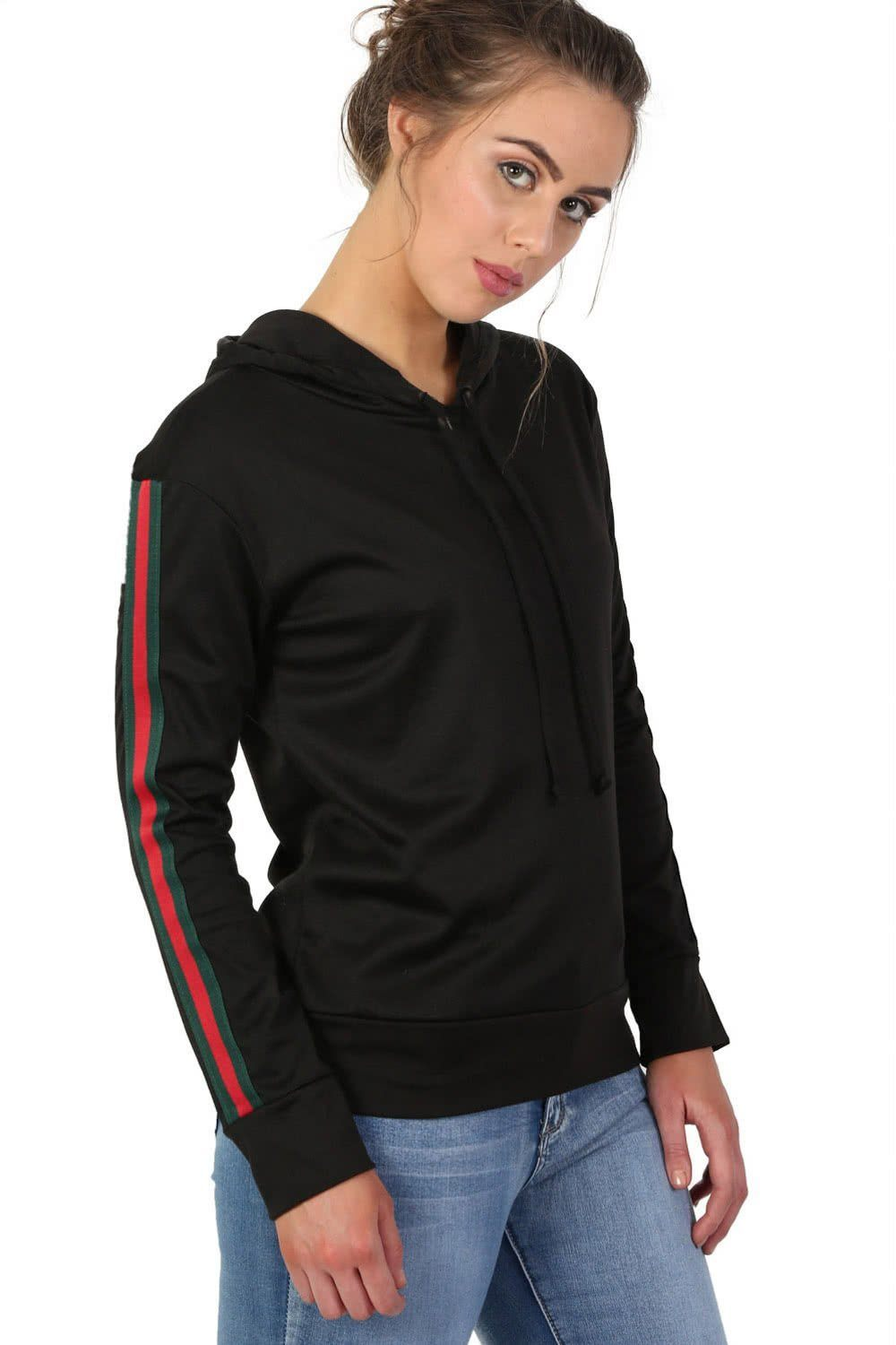 Long Sleeve Stripe Detail Hoodie Top in Black 0