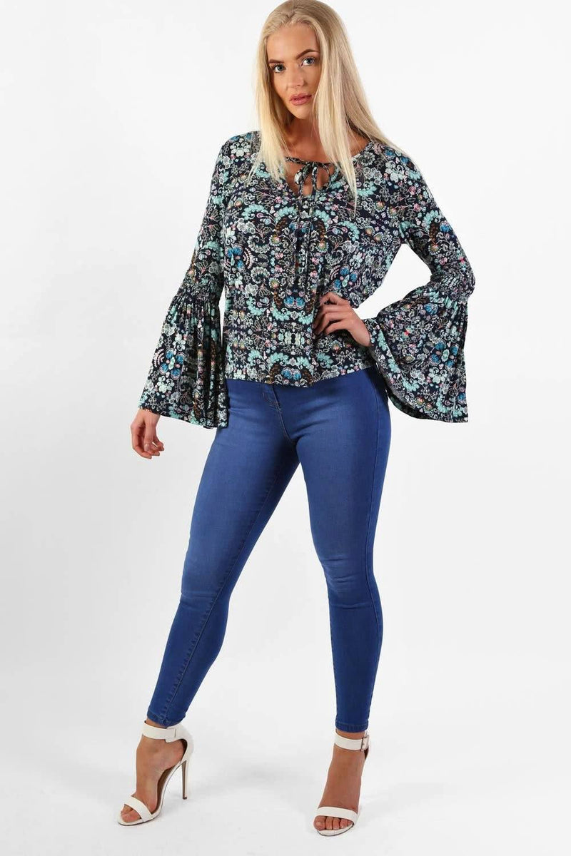 Oriental Floral Print Bell Sleeve Tie Detail Top in Navy Blue 1