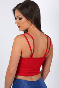 Plunge Front Double Layer Bralet Top in Red 1