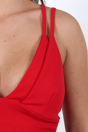 Plunge Front Double Layer Bralet Top in Red 2