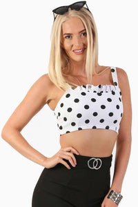 Polka Dot Frill Detail Strappy Cami Crop Top in White 0