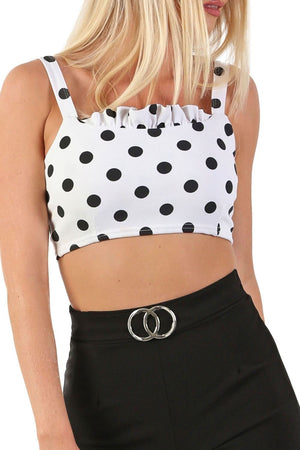 Polka Dot Frill Detail Strappy Cami Crop Top in White 3