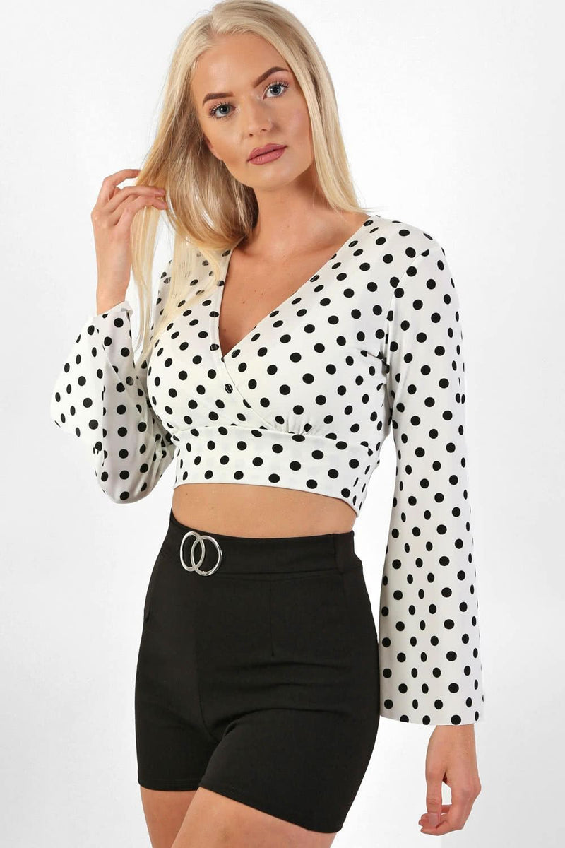 Polka Dot Long Flare Sleeve Wrap Crop Top in White 0