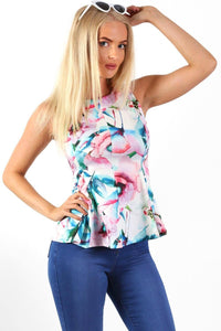 Sleeveless Floral Print Peplum Frill Top in White 0
