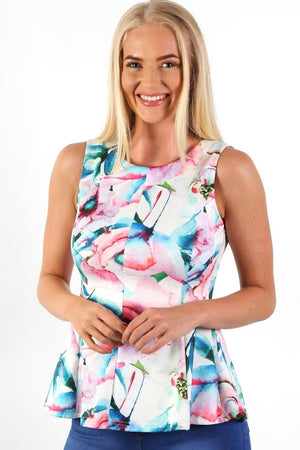Sleeveless Floral Print Peplum Frill Top in White 1