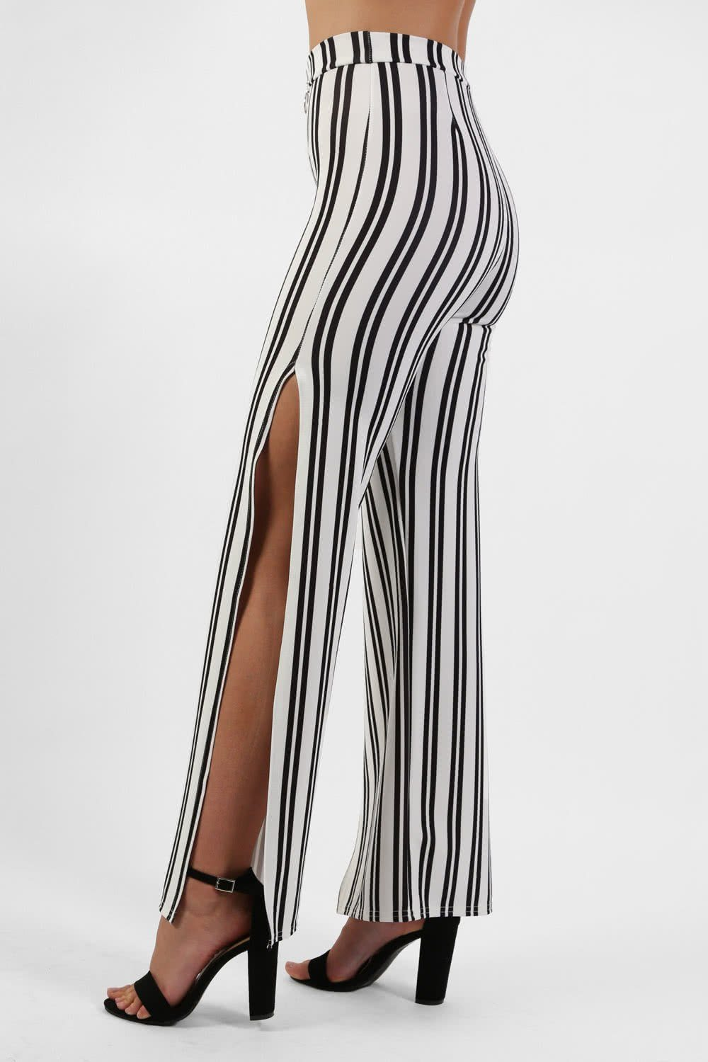 Monochrome Stripe Side Split Wide Leg Trousers in Ivory White 0