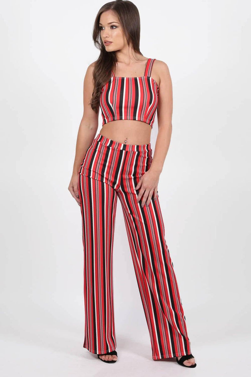 Multi Stripe High Waist Wide Leg Trousers in Red 2